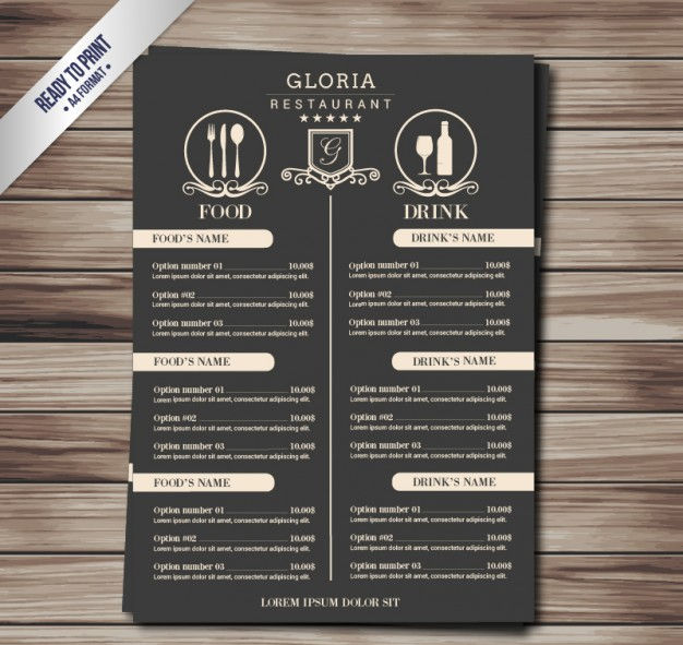A4 Food & Drinks Menu