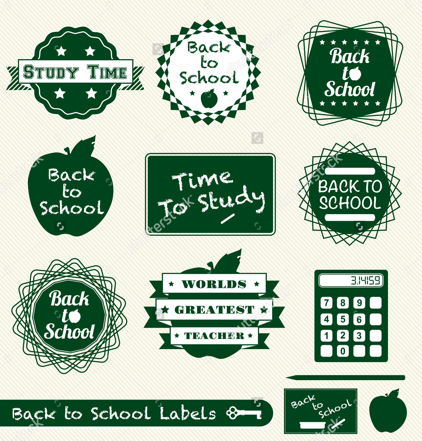 back to school labels set