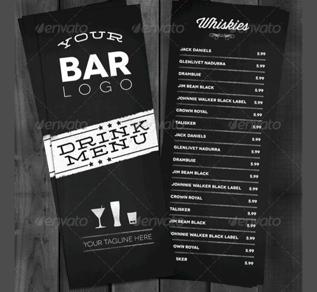 bar and lounge drink menu