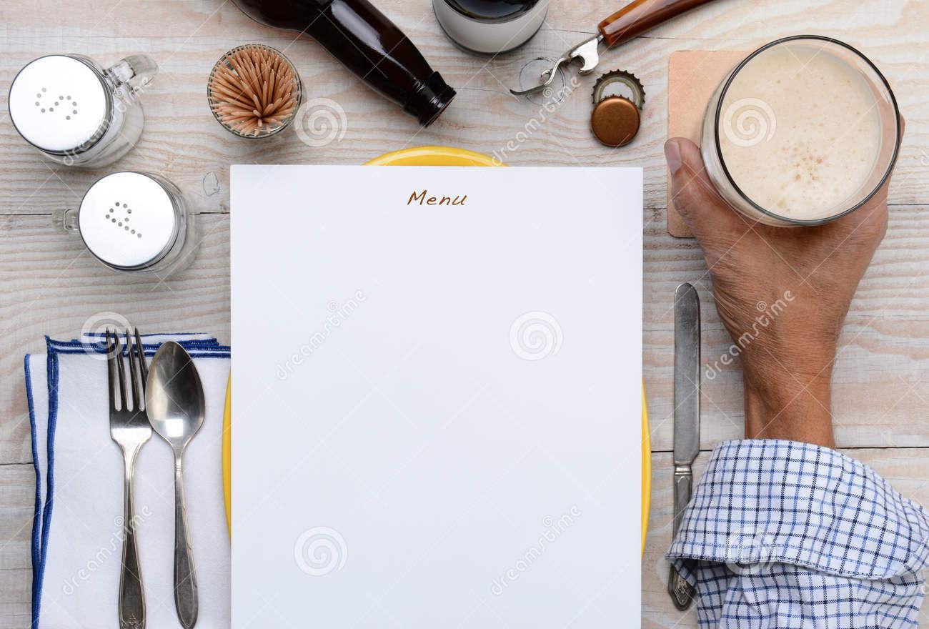 blank menu and beer