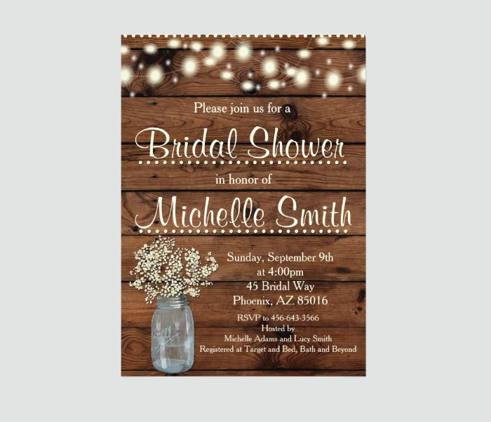 Bridal Shower Rustic Card Template