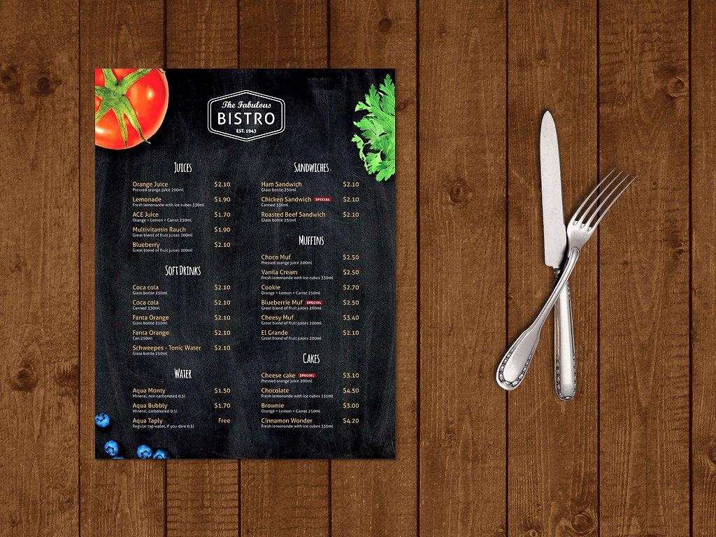 cafe menu template1