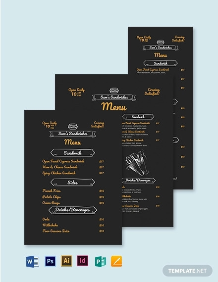 chalk board sandwich sub menu template