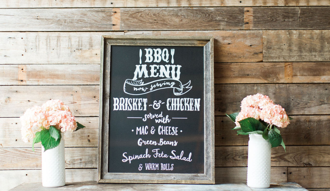 chalkboard bbq wedding menu