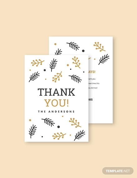 christmas holiday thank you card template