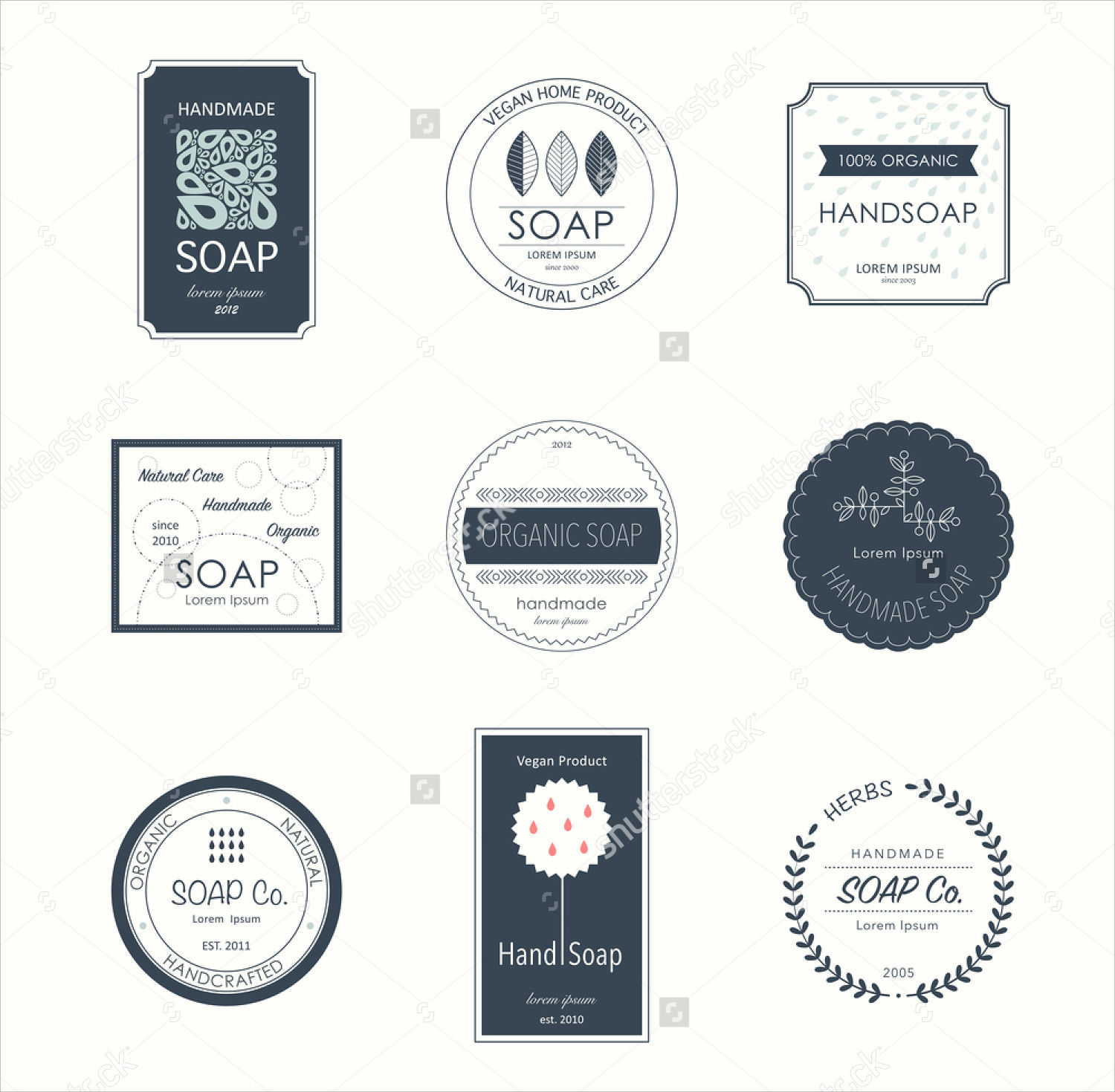 collection of elegant soap labels