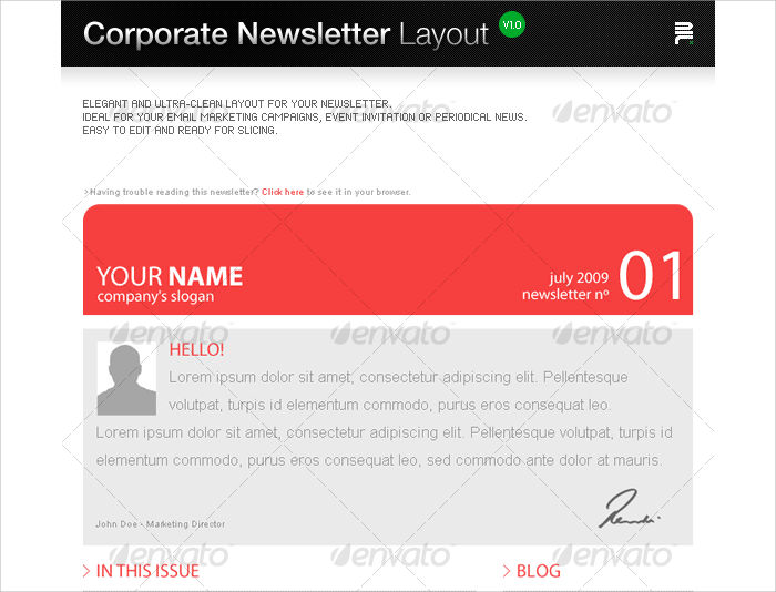 corporate newsletter layout