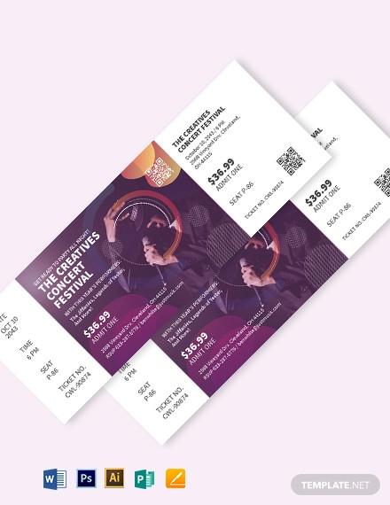 creative concert ticket template