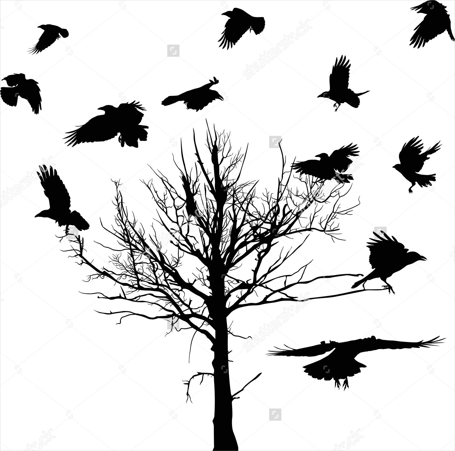 Crow Silhouette Tree