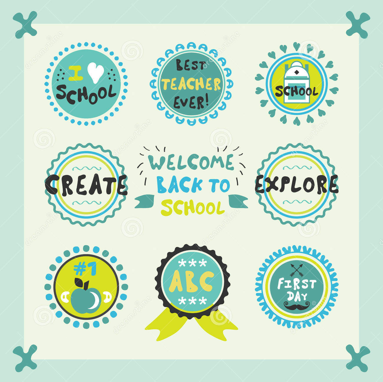 cute back to school theme label vector