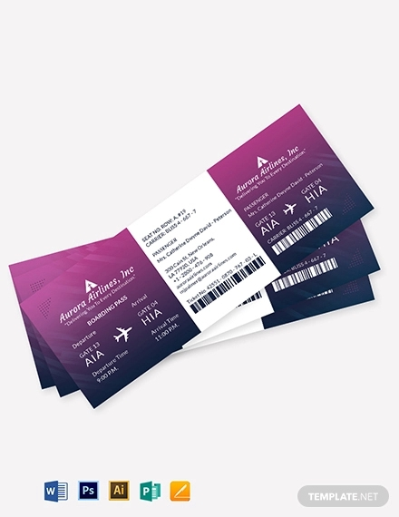 elegant travel ticket template