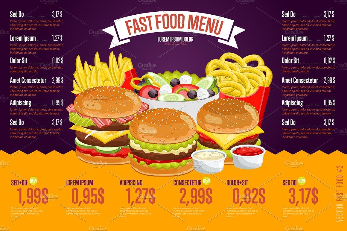French Fast Food Restaurant Menu