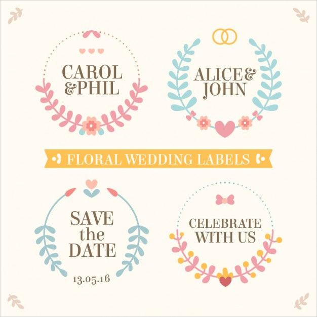 floral wedding label design