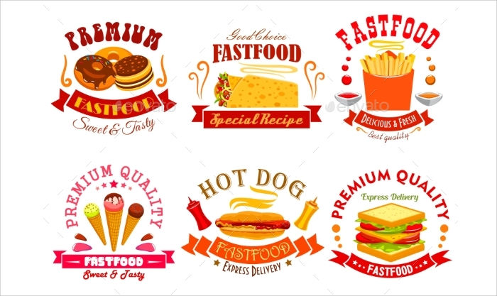 food menu labels emblems
