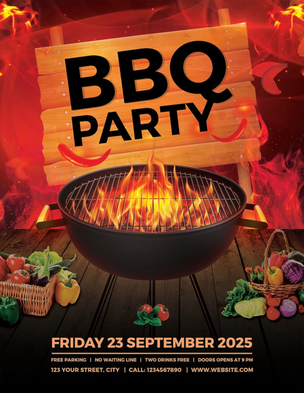 free bbq party flyer template