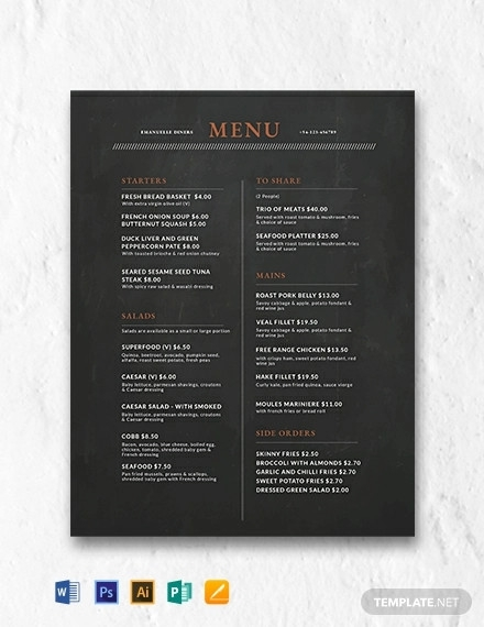 free chalkboard menu design template
