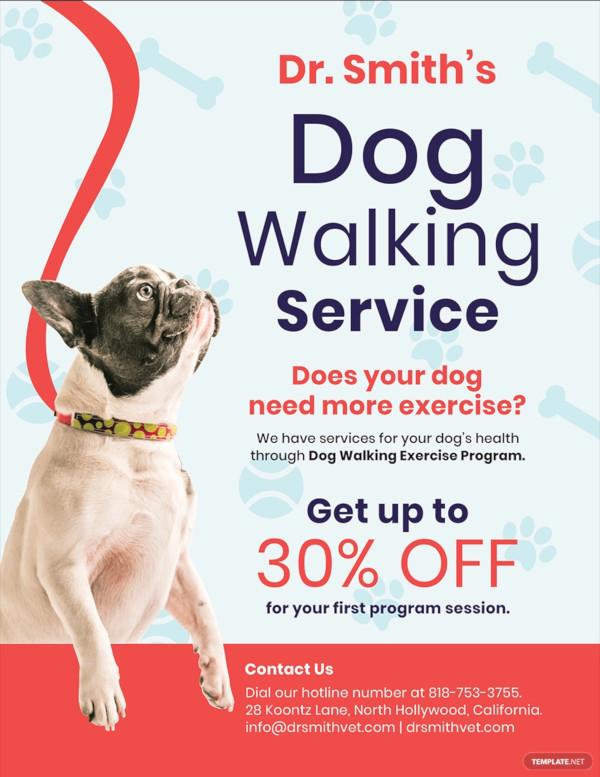 free dog walking service flyer template