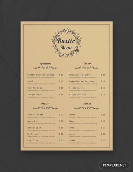free rustic menu template