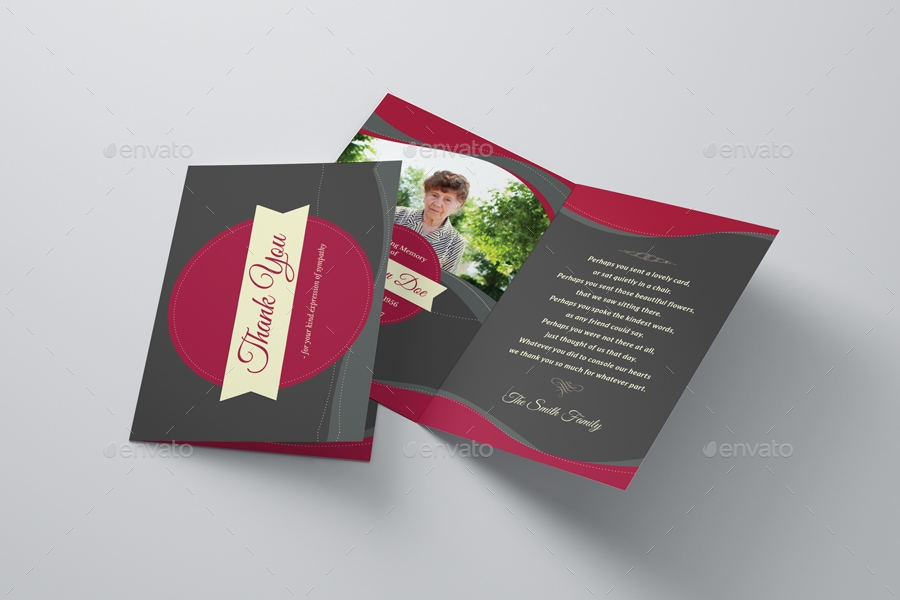 funeral programe thank you card template