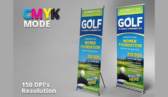 Golf Event Banner and Ticket