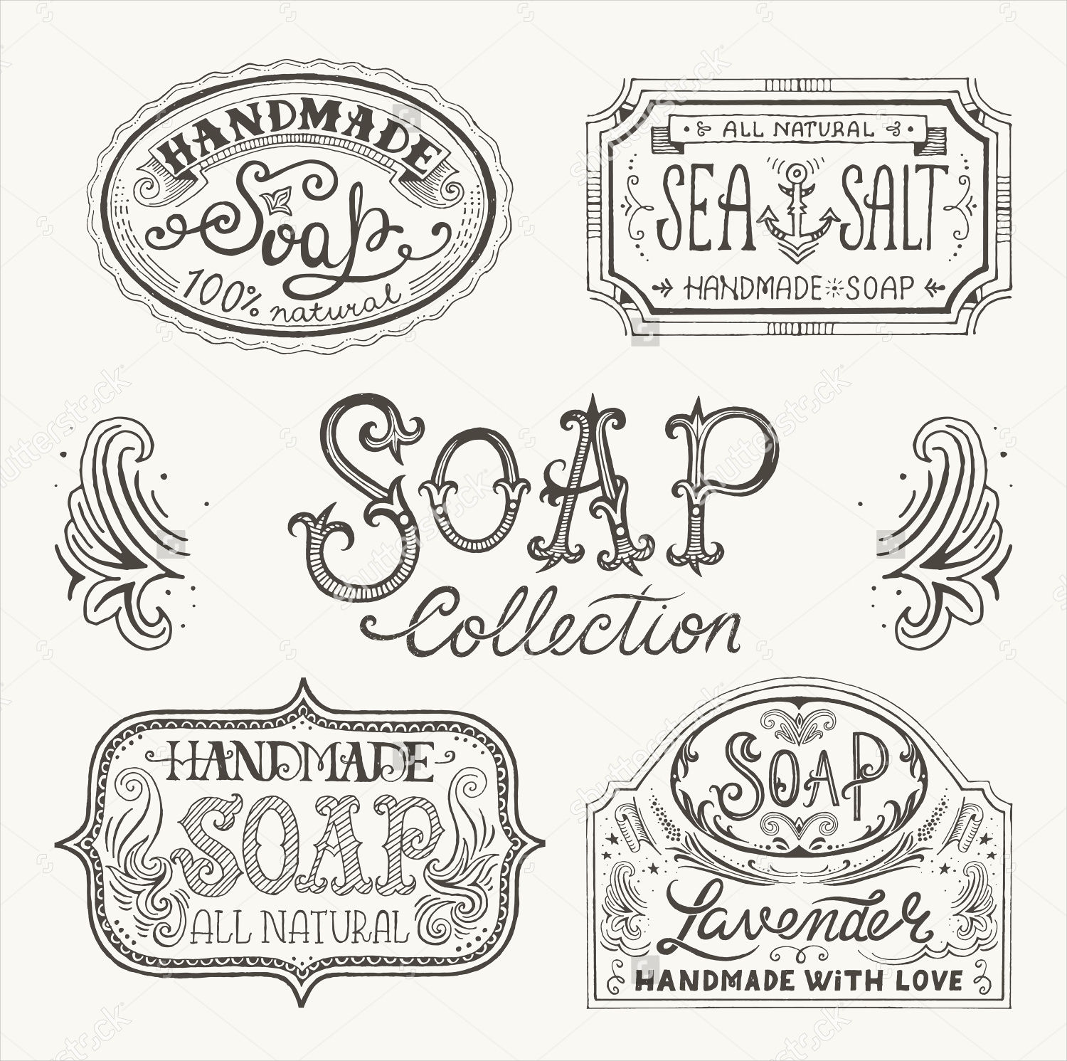 hand drawn pattern soap labels
