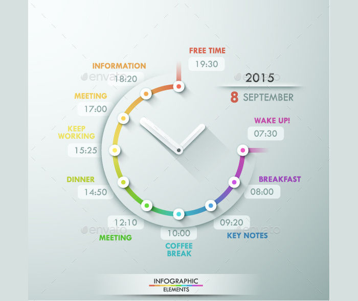infographic timeline template with clock