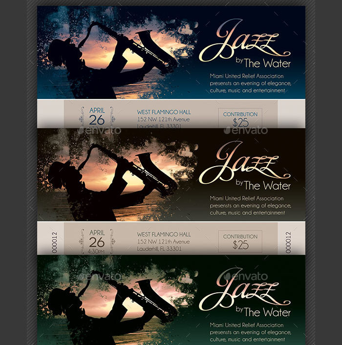 Jazz Concert Event Ticket Template