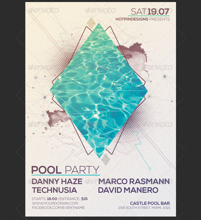 Minimal Pool Party Flyer