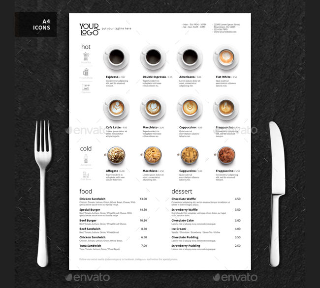 Minimalist Photography Coffee Menu
