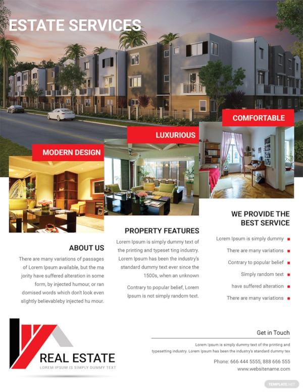 modern real estate service flyer template