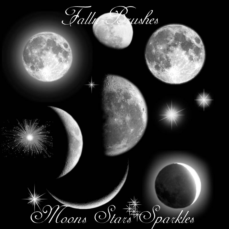 moons stars sparkles brushes