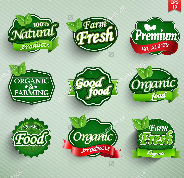 organic food labels badges