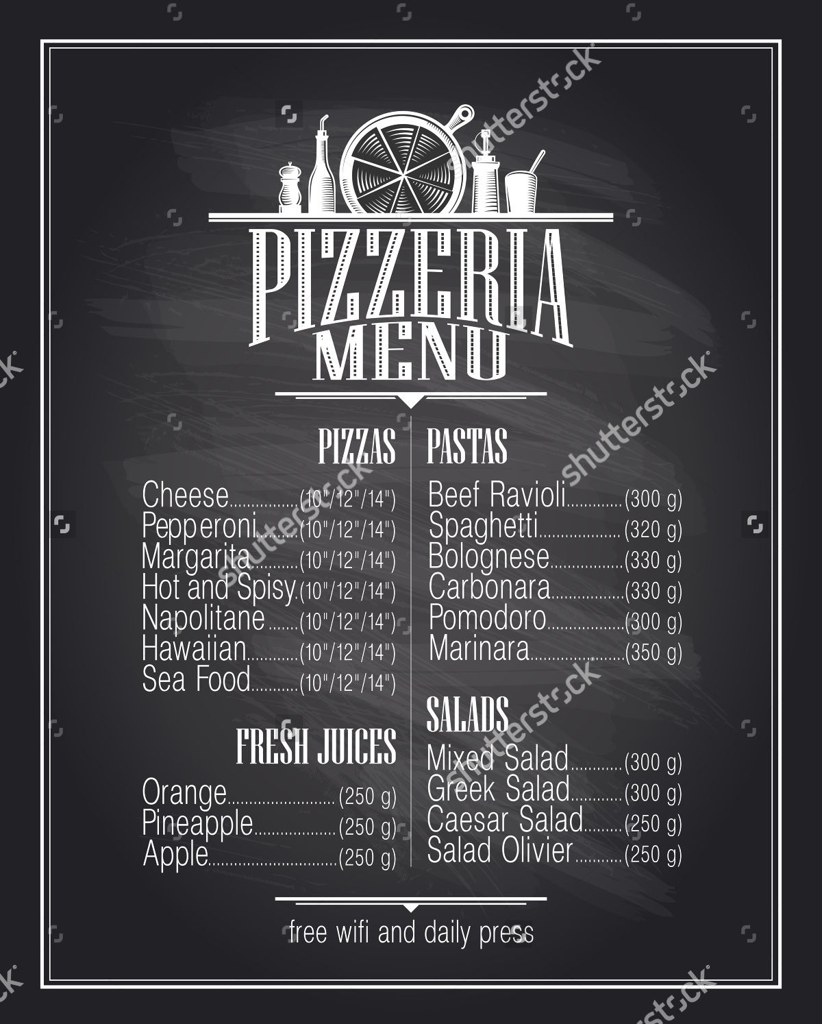 Pizza Chalkboard Menu