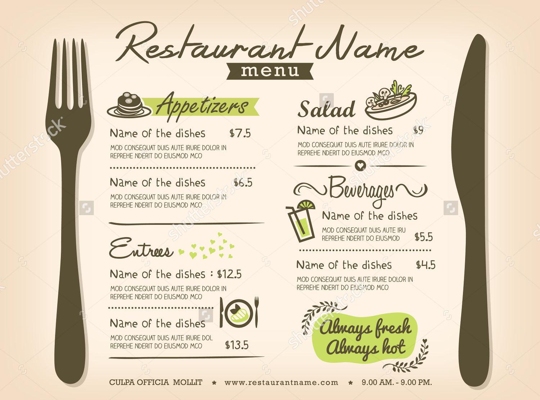 restaurant menu layout design