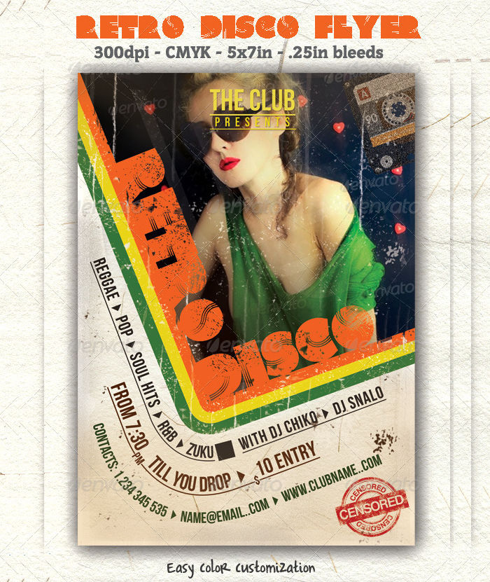 Retro Disco Flyer Template