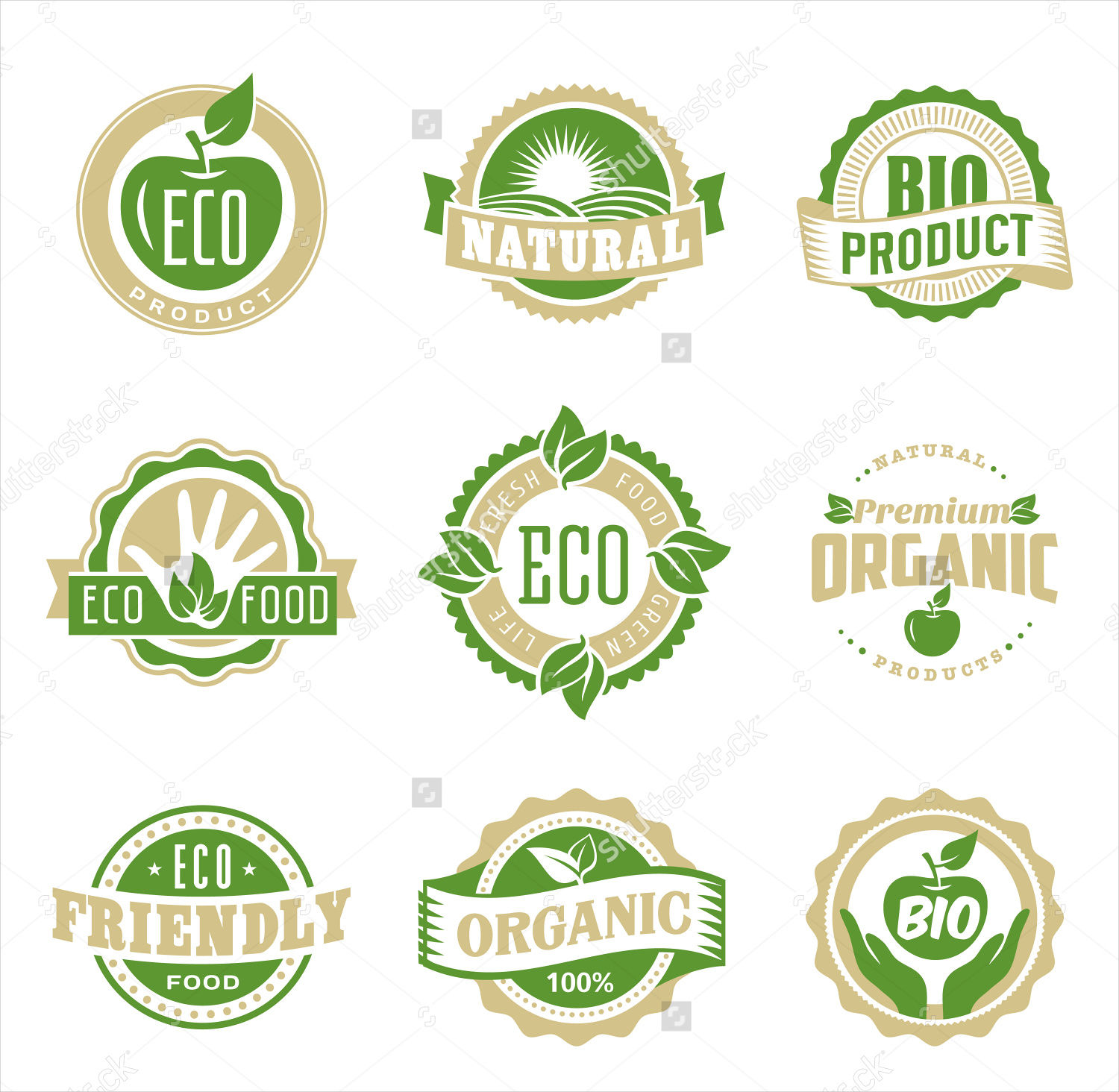 round eco green stamp labels