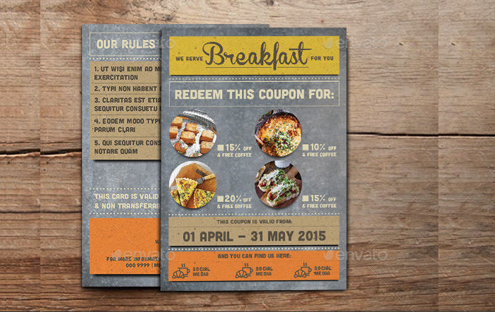 Rustic Breakfast Coupon Card