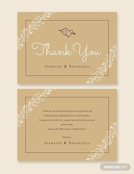 rustic thank you card template