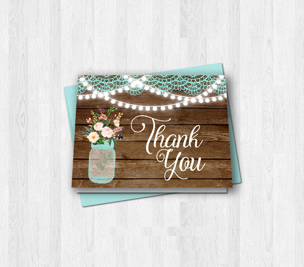 Rustic Wood Lace Thank You Card