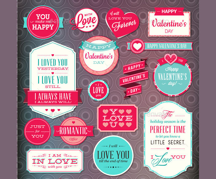 Set of Love Badges & Labels