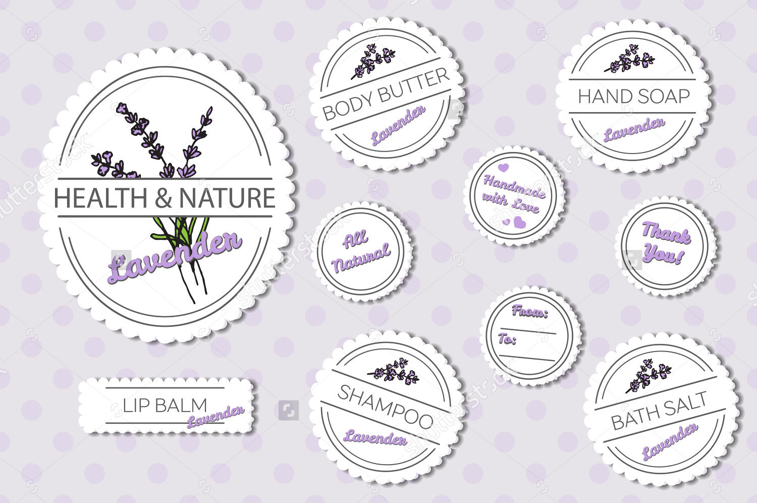 set of natural body product labels