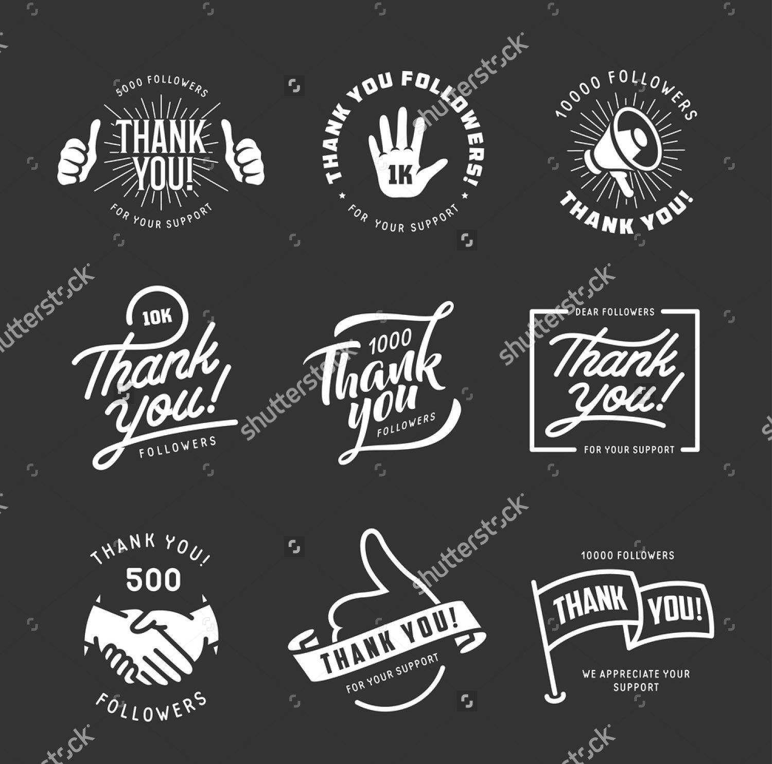 set of vector thank you labels stickers