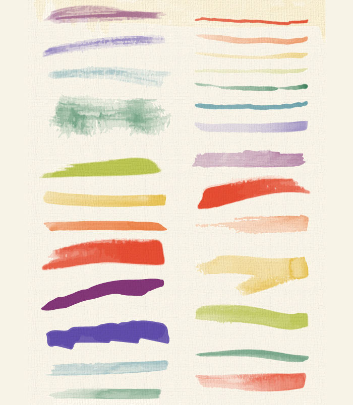 set of watercolor brushes textures