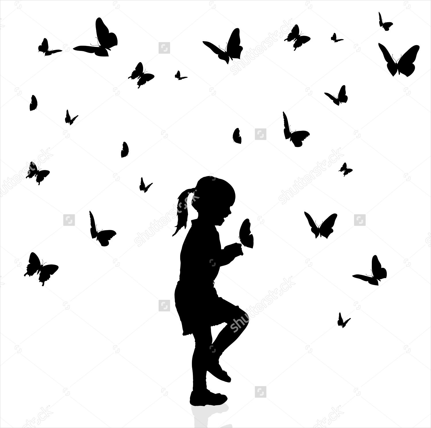 Silhouette Girl Butterfly