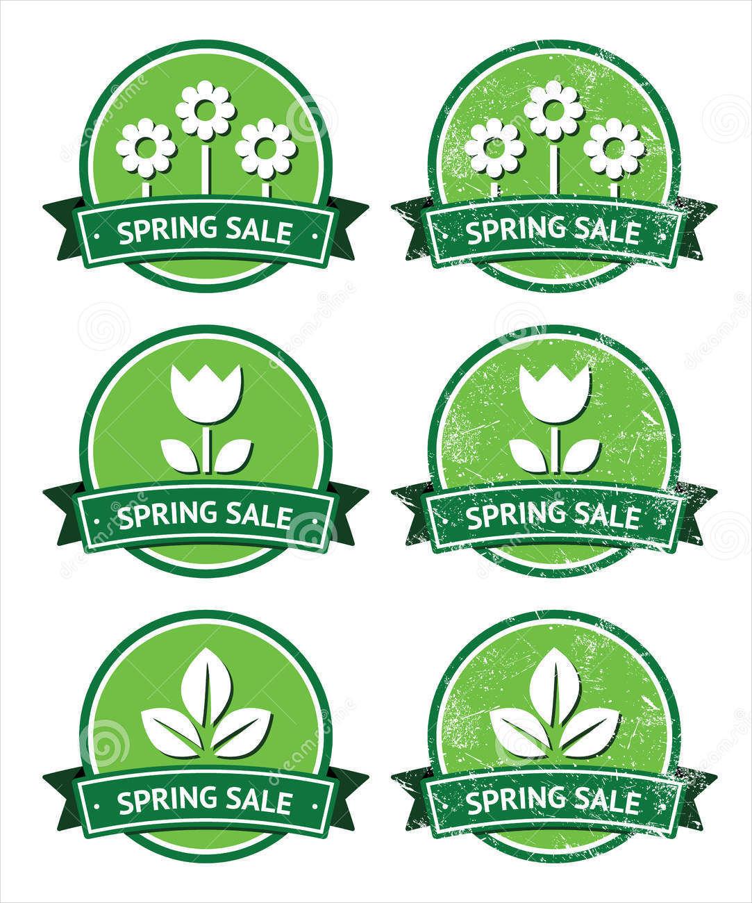 spring retro green round label
