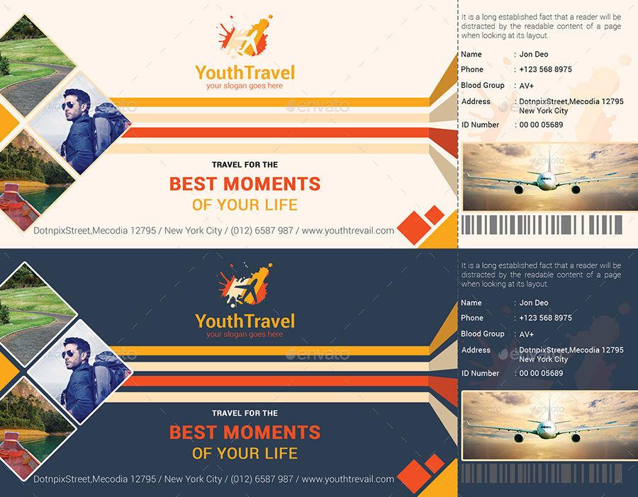 Travel Ticket PSD Template