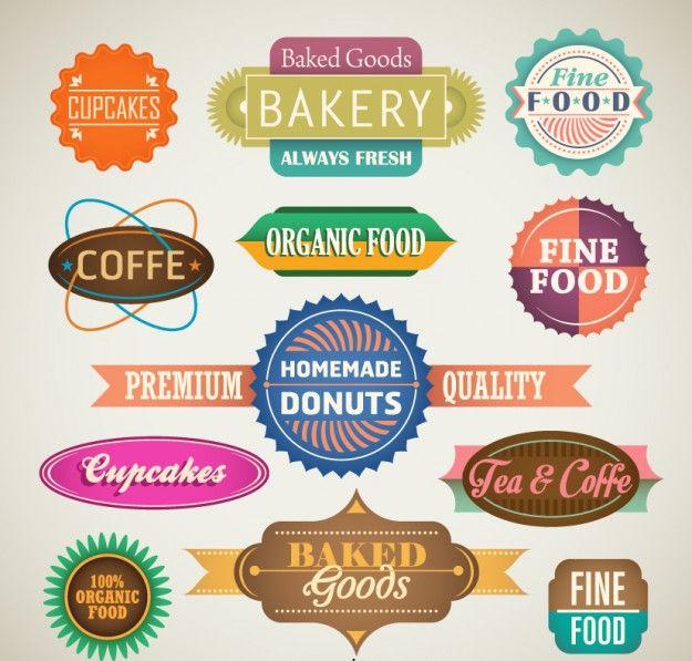 vector food labels badges