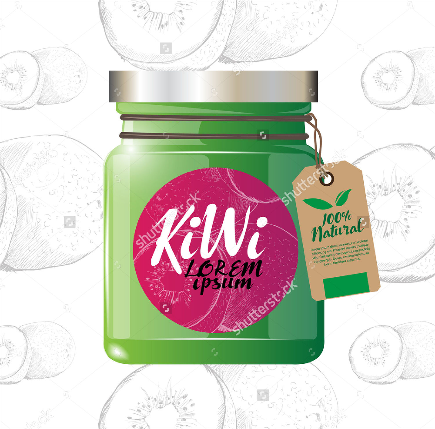 Vector Fruit Jam Jar Label