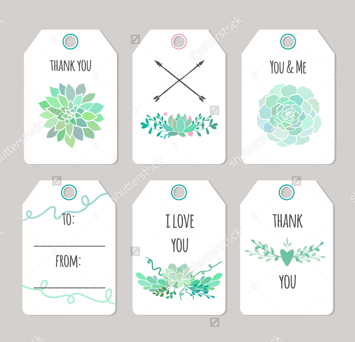 vector thank you label tags