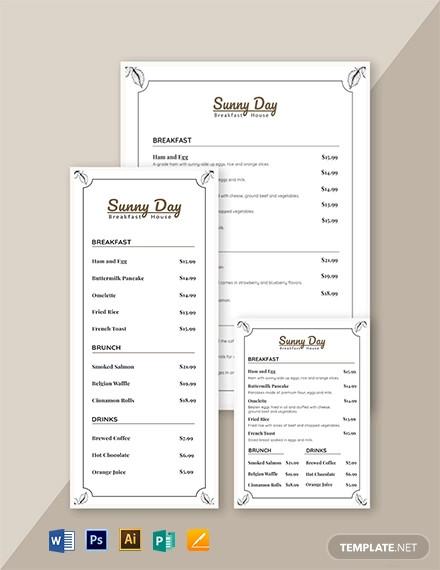 vintage breakfast menu template